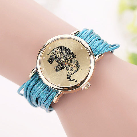 "Image of Leather Bracelet Watch ""Love Elephant"""