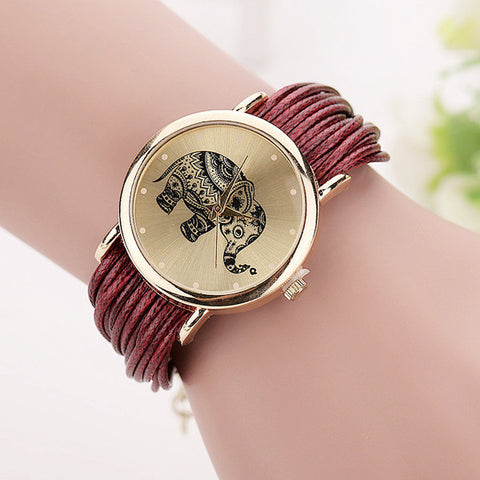 "Leather Bracelet Watch ""Love Elephant"""
