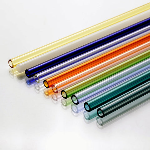 Image of 1pc Colorful Clear Reusable Glass Straws Smoothie Milkshake Frozen Drinks Parties