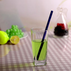1pc Colorful Clear Reusable Glass Straws Smoothie Milkshake Frozen Drinks Parties