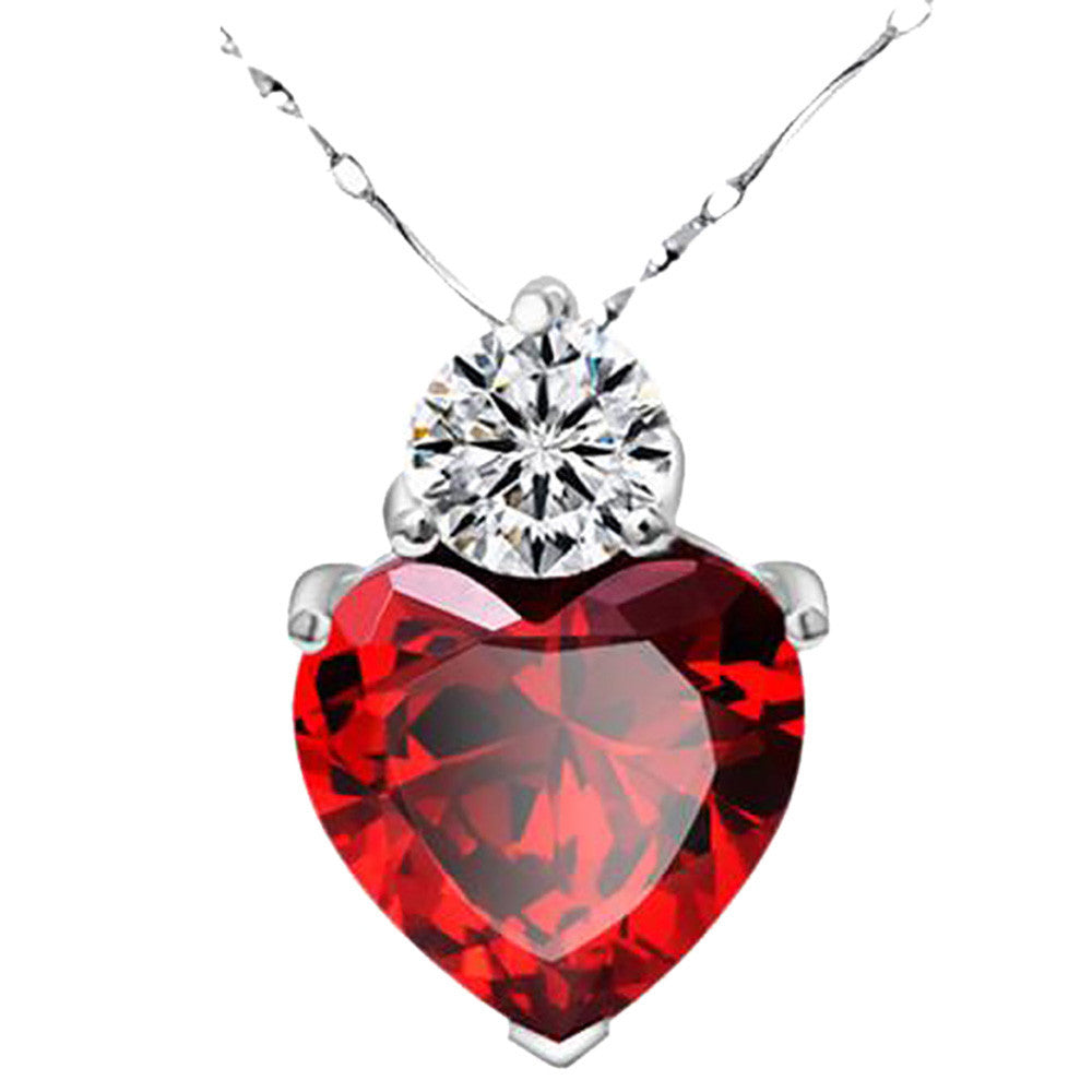 Silver Red Garnet Heart Crystal Pendant Necklace Valentine Gift