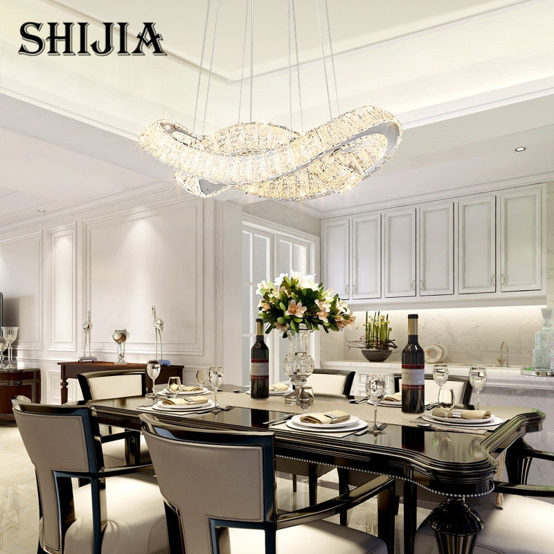 Modern Luster Led Crystal Chandelier Ceiling Lamp for Dining Room Kitchen Island Showcase