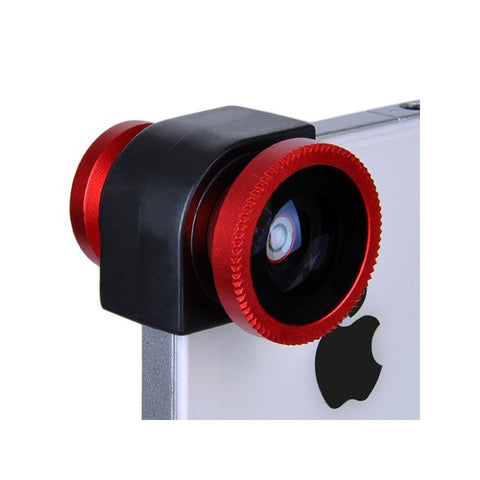 3-in-1 Wide Angle & Fish Eye & Micro Camera Lens Kit for iPhone 4S /iPhone 4 (Red)