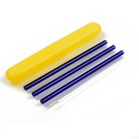 3Pcs Straight Glass Reusable Drinking Straws 7 Colors