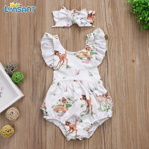 Image of LONSANT New infant baby Girl Clothes Christmas Deer Romper Headband 2Pcs Set