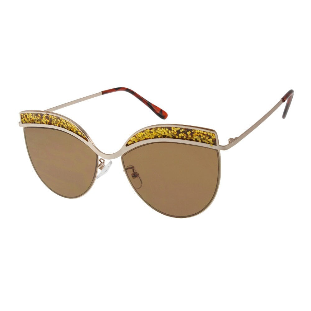 Gold Glitter Edged Sunglasses