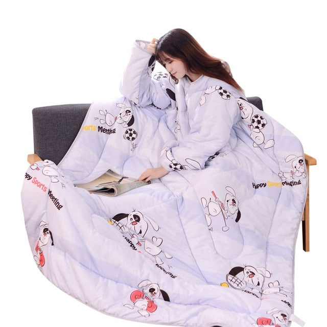 Winter Warm Blanket 120x160cm Lazy Quilt With Sleeves Thickened Washable Quilt