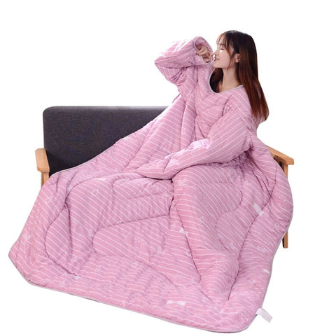 Image of Winter Warm Blanket 120x160cm Lazy Quilt With Sleeves Thickened Washable Quilt
