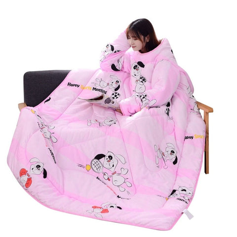 150x200cm Winter Lazy Blanket with Sleeves Thickened Washable Quilt