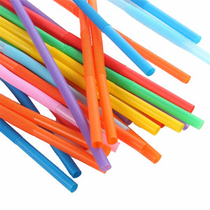 100 PCs Reusable Plastic Straws Eco-Friendly Recycling Decomposed Water, Iced Coffee, Juices
