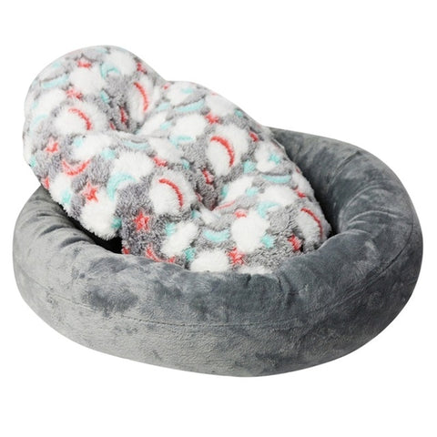 Round Small Dog Cat Bed Mat Winter Warming Washable Super Soft Plush
