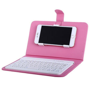 Wireless Keyboard in Leather Case for iPhone With Bluetooth