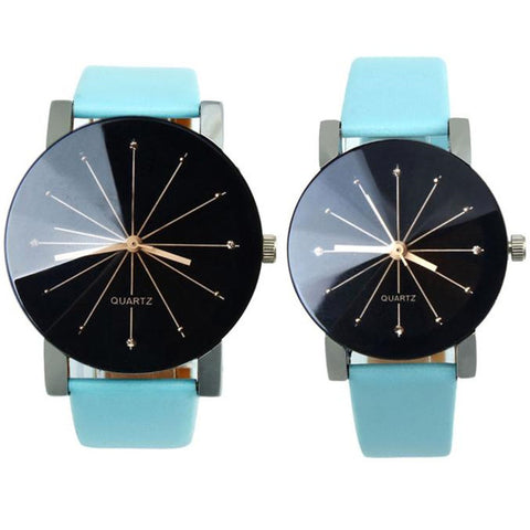 Lover's Watches Men Women Quartz Dial Clock PU Leather Wrist