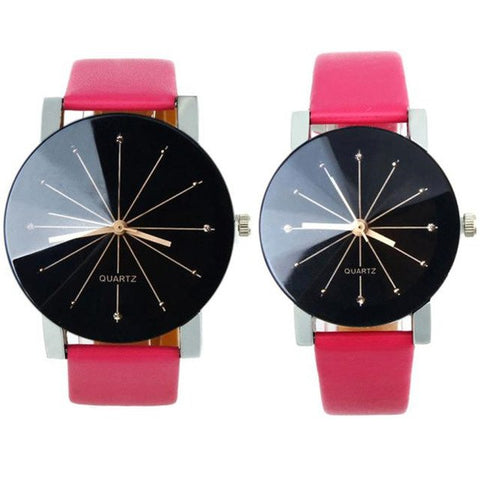 Image of Lover's Watches Men Women Quartz Dial Clock PU Leather Wrist