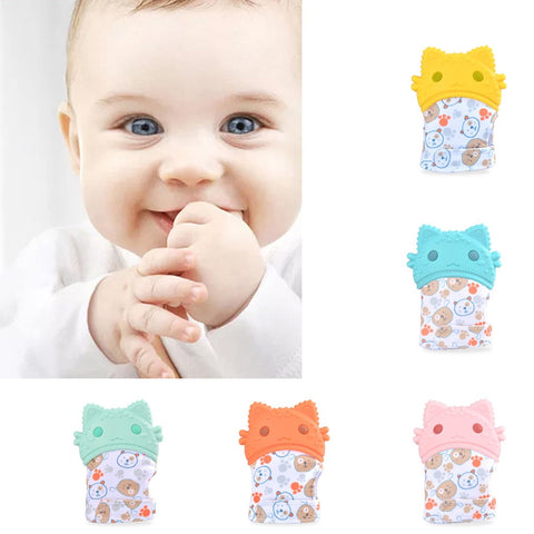 Image of Baby Silicone Cartoon Shaped Teether Glove Wrapper Soft