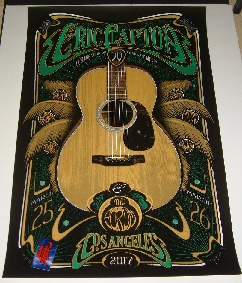 Adam Pobiak Eric Clapton Poster Los Angeles March 2017 Artist Edition