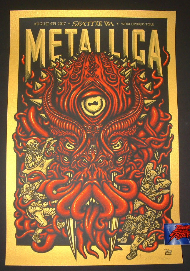 Ames Bros Metallica Poster Seattle Super Gold Variant 2017 Artist Edition