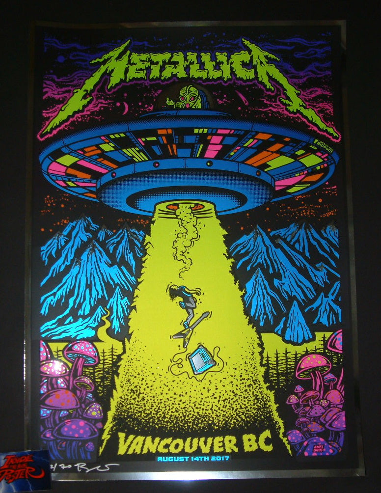 Ames Bros Metallica Poster Vancouver Chrome Variant 2017 Artist Edition S/N