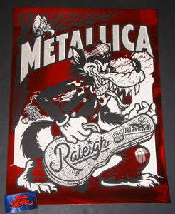 Ames Bros Metallica Poster Raleigh Red Chrome Variant Foil Artist Edition 2019