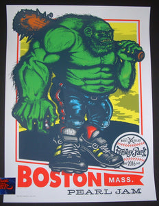 Ames Pearl Jam Concert Poster Boston Fenway Park 2016
