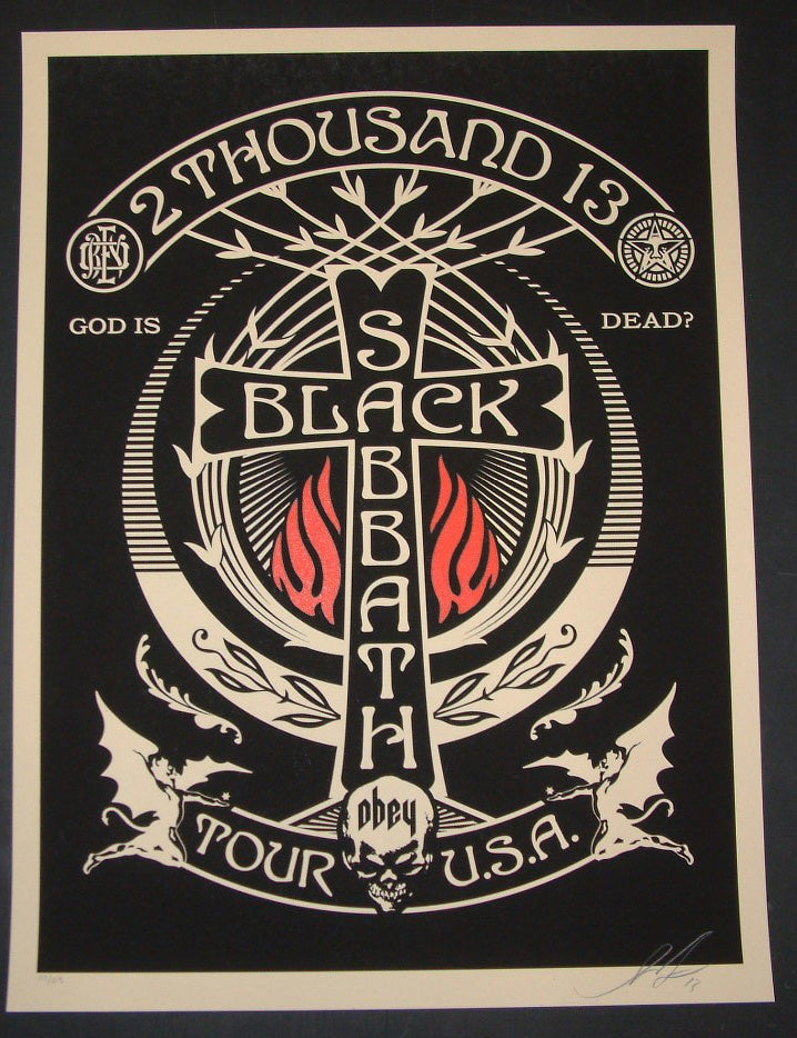 Shepard Fairey Black Sabbath Poster Black Red Cross Variant 2013 S/N