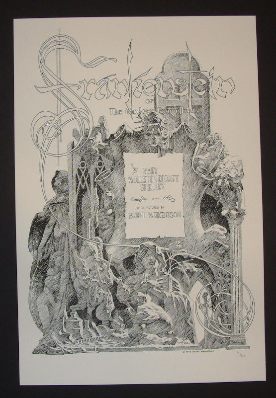 Bernie Wrightson Mary Shelley S Frankenstein Book Title Page Art Print 2013