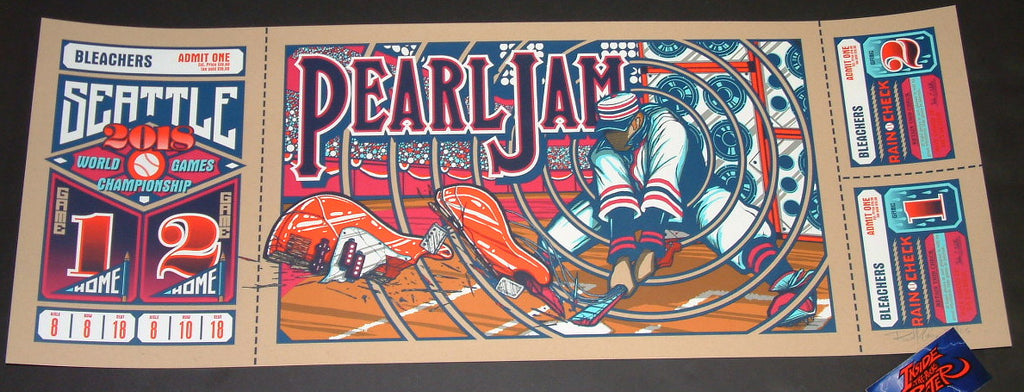 Brad Klausen Pearl Jam Seattle Poster Blue Red Variant Artist Edition 2018