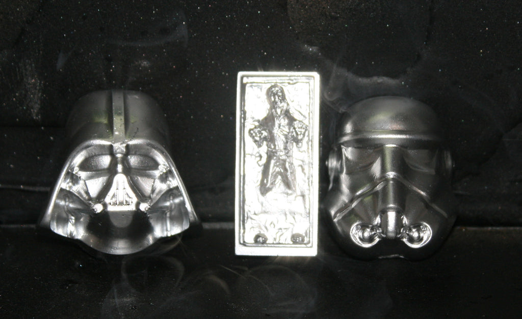 Plastic Resin Darth Vader Stormtrooper Han Solo in Carbonite Chrome Set of 3 Bust Star Wars
