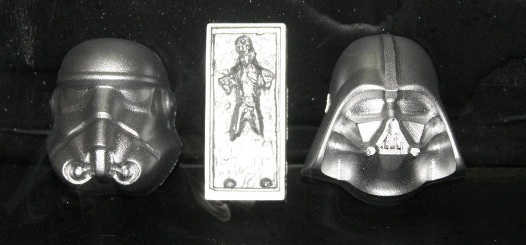 Plastic Resin Darth Vader Stormtrooper Han Solo in Carbonite Silver Set of 3 Bust Star Wars