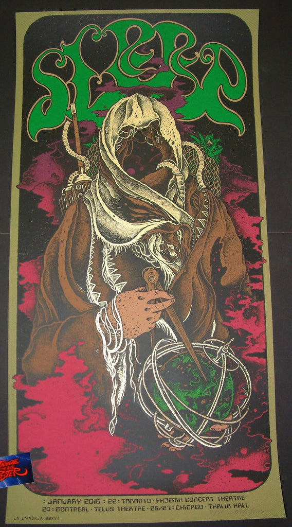 David D'Andrea Sleep Poster January 2016 Tour Artist Edition Brown Variant