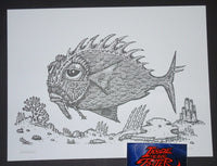 David Welker Lonious Monk Fish Letterpress Art Print 2017
