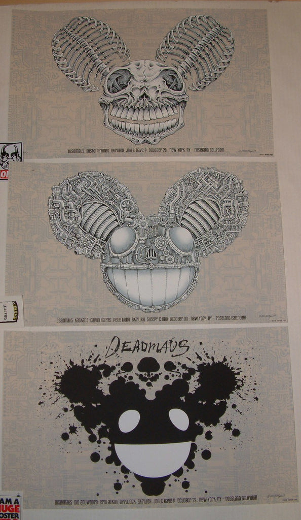 Emek DJ DeadMau5 New York Poster Set Beige 2010 S/N Glow in the Dark