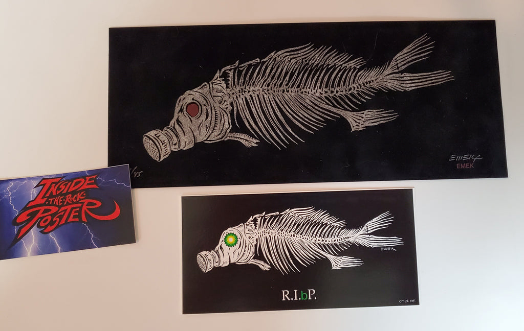 Emek Fish Handbill Print Black Brown Velvet Variant R.I.(b)P. Sticker 2007
