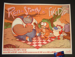 Florian Bertmer Ren & Stimpy Cartoon Fake Dad Poster 2018 Mondo