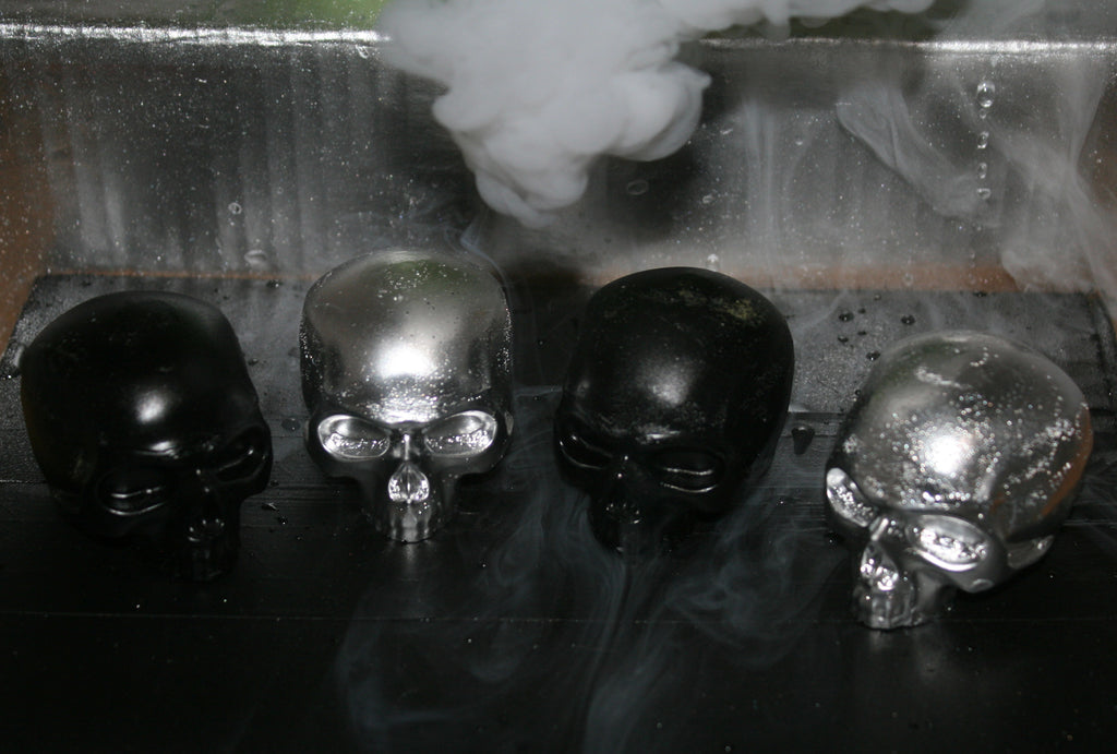 Icy Skullz Chrome And Black Hand Made Resin Figures