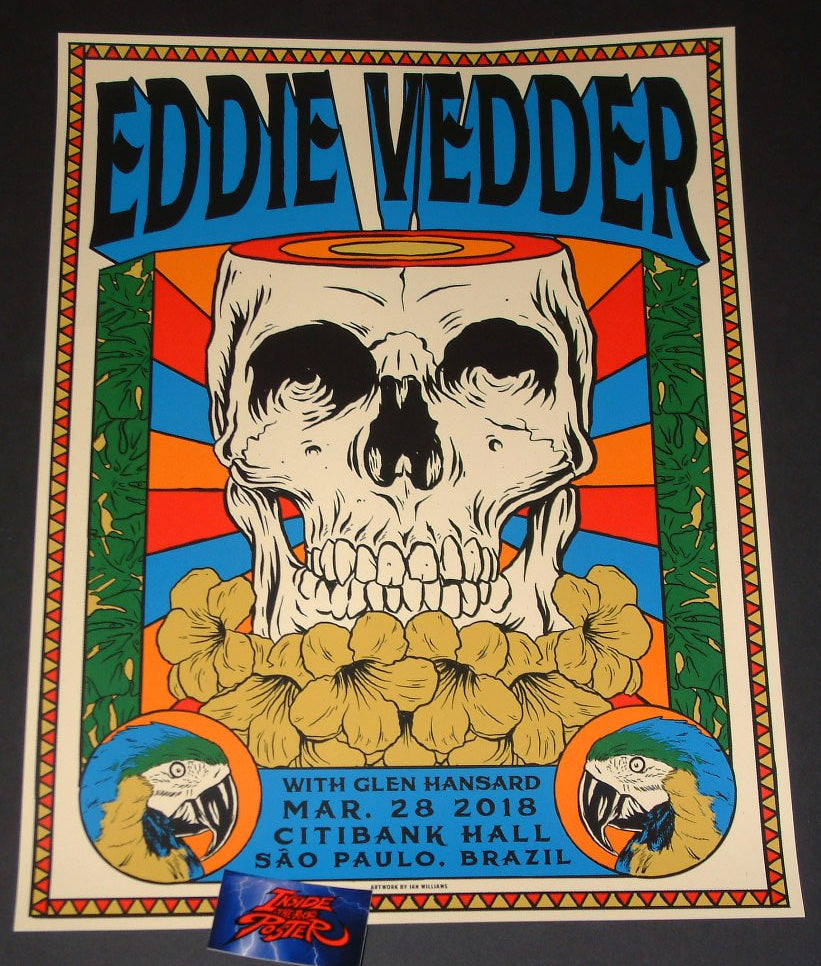 Ian Williams Eddie Vedder Sao Paulo Poster 2018