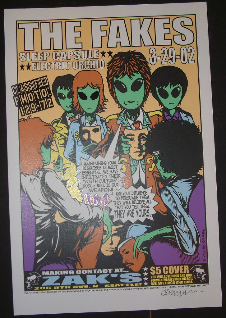 Jermaine Rogers The Fakes Seattle Poster 2002 Signed