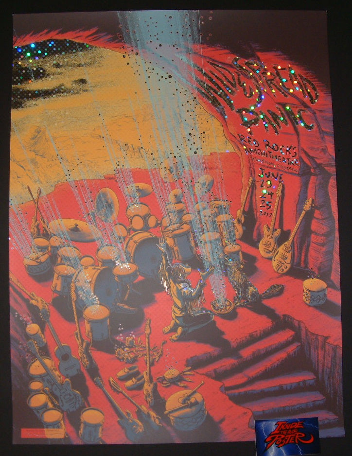 James Flames Widespread Panic Morrison Red Rocks Poster Lotsa Dots Foil Variant 2017 S/N