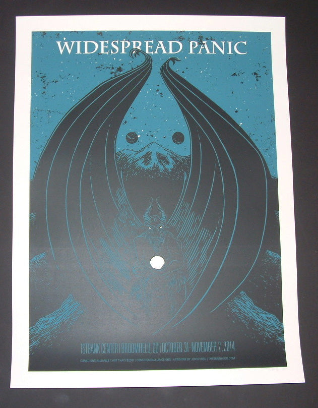 John Vogl Widespread Panic Poster Broomfield Blue Variant 2014 Artist Proof