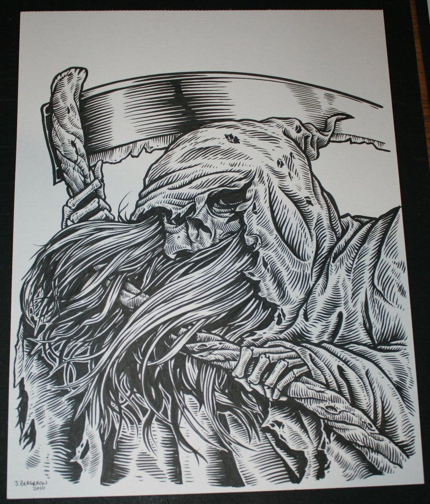 Johnny Crap Art Original Drawing Grim Reaper Death Signed 2012