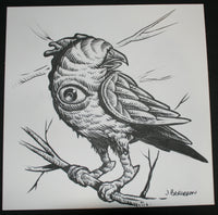 Johnny Crap Art Original Drawing One Eyed Bird Signed 2012