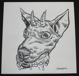 Johnny Crap Art Original Drawing Rabid Horned Dog Signed 2012