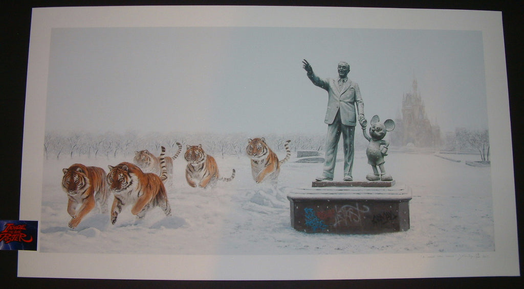 Josh Keyes A Whole New World Art Print COA 2015 Banksy Disney