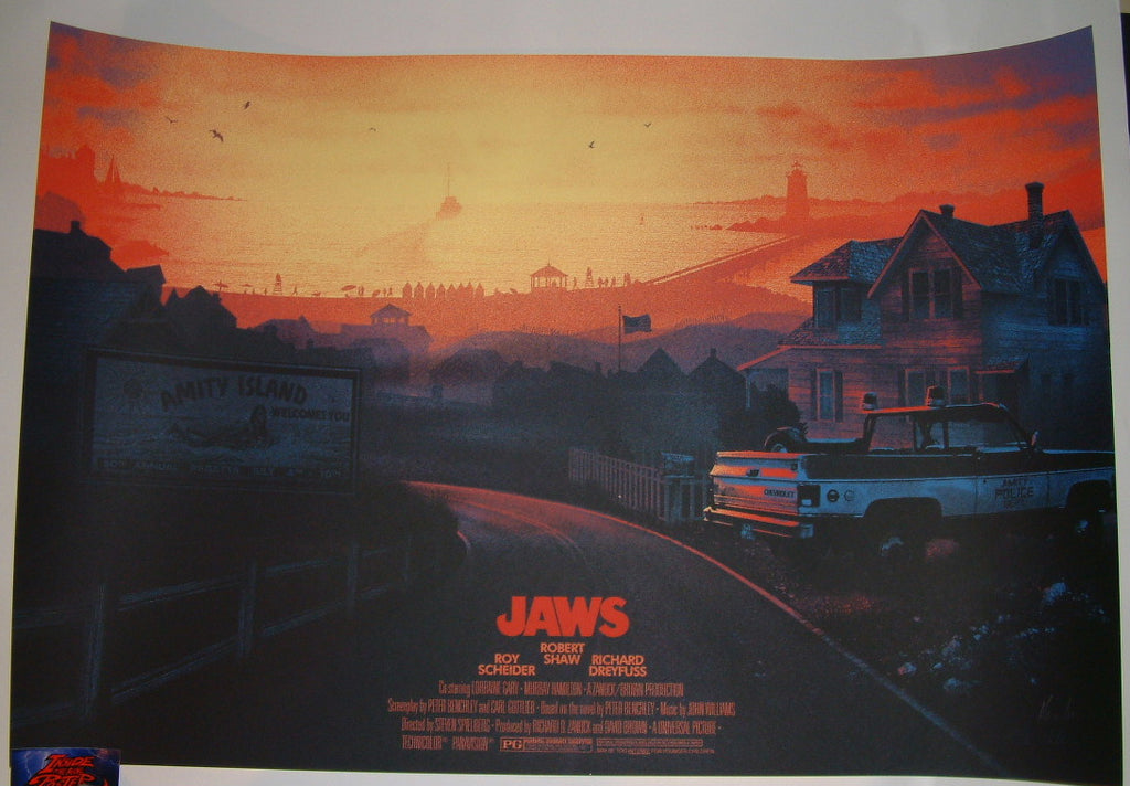 Kevin Wilson Jaws Amity Island Movie Poster Beach Open Variant 2015 Artist Proof