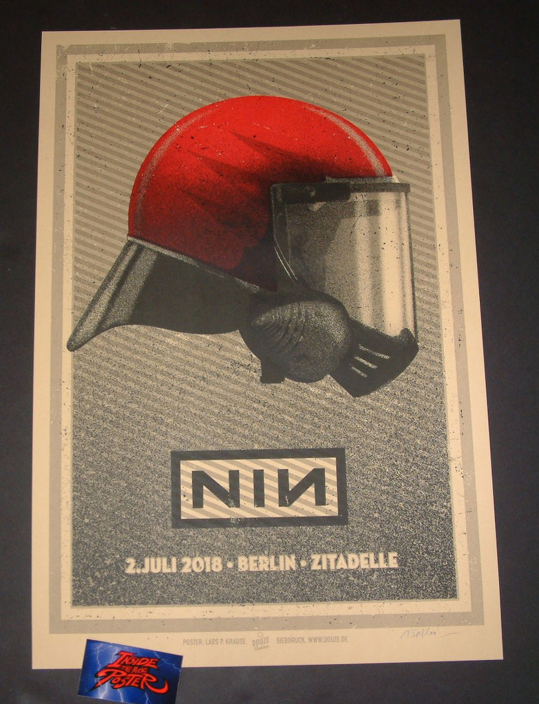 Lars Krause Nine Inch Nails Poster Berlin Germany Red Helmet 2018 Artist Edition