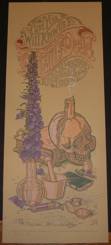 Lars Krause Trail of Dead Lingen Germany Poster S/N Tan Variant