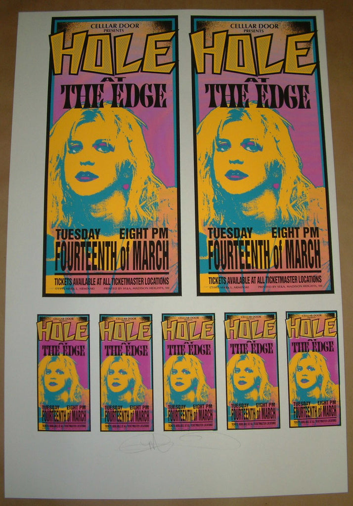 Mark Arminski Hole Courtney Love Miami Poster Handbills Uncut Sheet Signed 1995