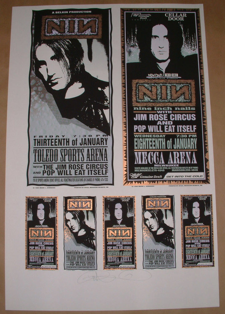 Mark Arminski Nine Inch Nails Toledo Milwaukee Posters Handbills Uncut Sheet Signed 1995