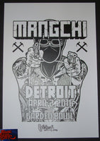Mike Giant Mangchi David Choe Detroit Concert Poster Signed 2016