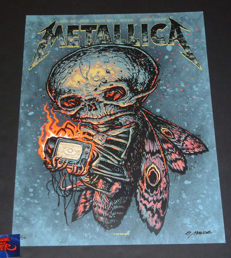 Munk One Metallica Poster Boise Fluorescent Red Variant Artist Edition 2018